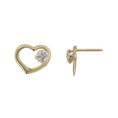 Girls 14K Gold Cubic Zirconia Openwork Heart Earrings