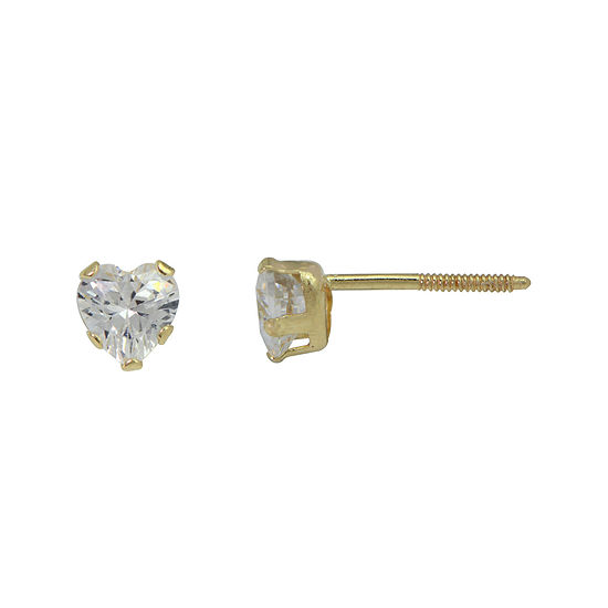 Girls Cubic Zirconia Heart Stud Earrings