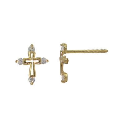 Girls 14K Yellow Gold Cubic Zirconia Cross Stud Earrings