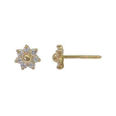 Girls 14K Yellow Gold Cubic Zirconia Flower Stud Earrings