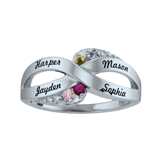 Personalized Simulated Birthstone Engraved X Ring