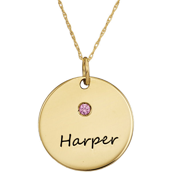 Personalized Simulated Birthstone Round Name Pendant Necklace