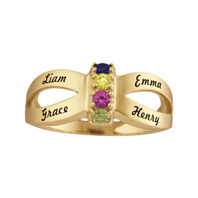 Personalized Engraved Simulated Birthstone Split Shank Ring