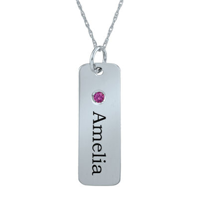 Personalized Simulated Birthstone Rectangle Name Pendant Necklace