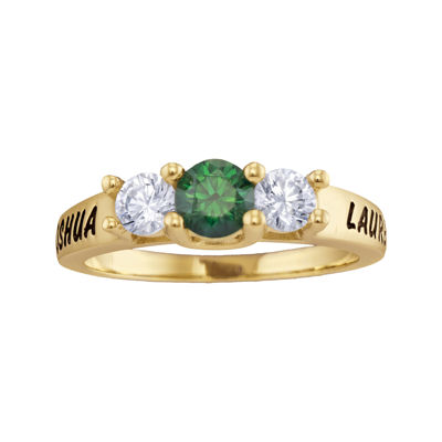 Personalized Simulated Birthstone and Cubic Zirconia 3-Stone Engraved Ring