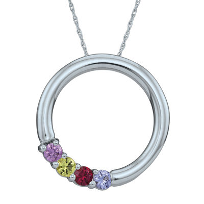 Personalized Simulated Birthstone Circle Pendant Necklace