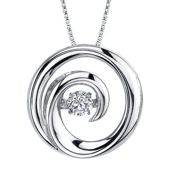 Dancing Cubic Zirconia Sterling Silver Swirl Pendant Necklace