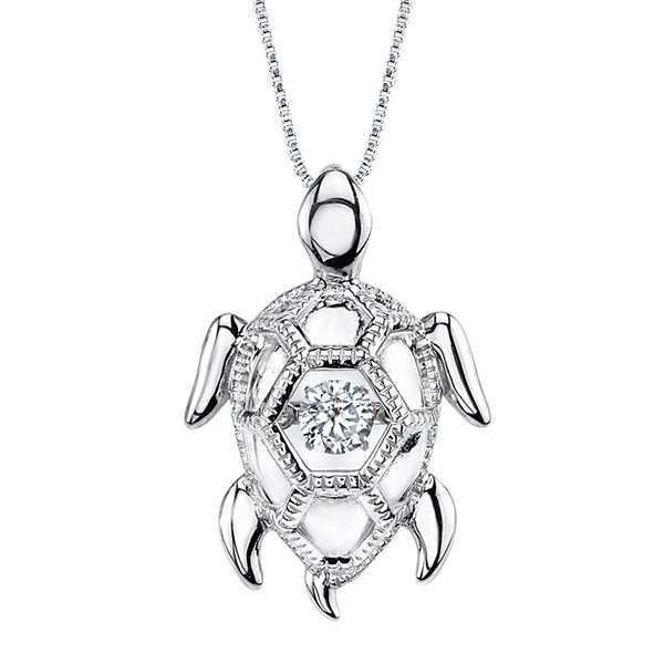 Dancing Cubic Zirconia Sterling Silver Turtle Pendant Necklace