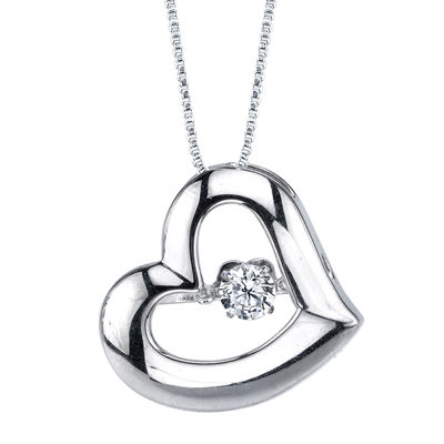Sterling Silver Dancing Cubic Zirconia Heart Pendant Necklace
