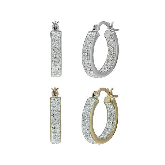 Inside-Out Crystal Hoop Earrings 2-Pair Set