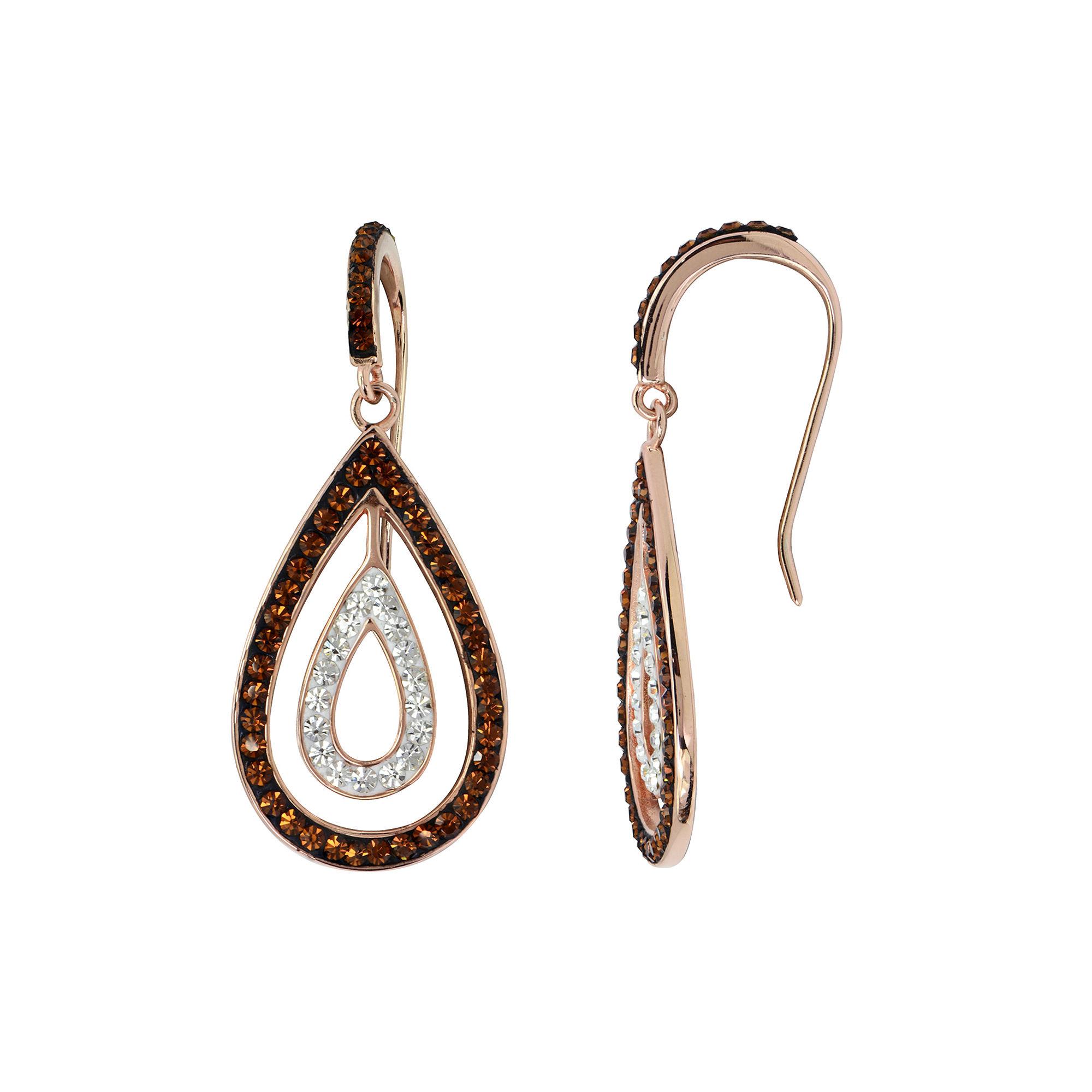 Rose 'N Chocolate Crystal Teardrop Earrings