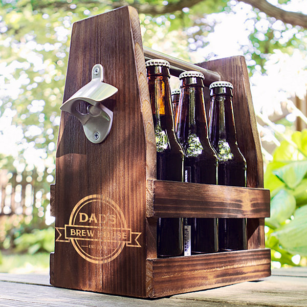 Cathy's Concepts Personalized Dad's Brew House Rustic Craft Beer Carrier