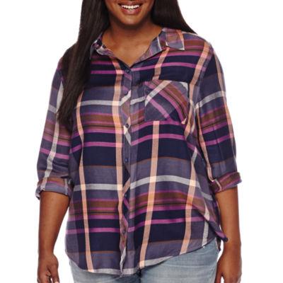 Arizona Long-Sleeve Boyfriend Plaid Shirt - Plus