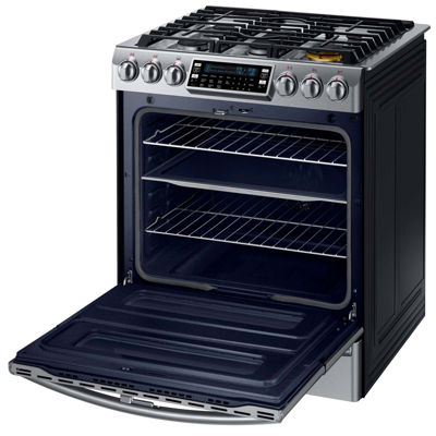 Samsung 5.8 cu. ft. Chef Collection Slide-In Dual Fuel Range with Flex Duo™  Oven and Dual Door
