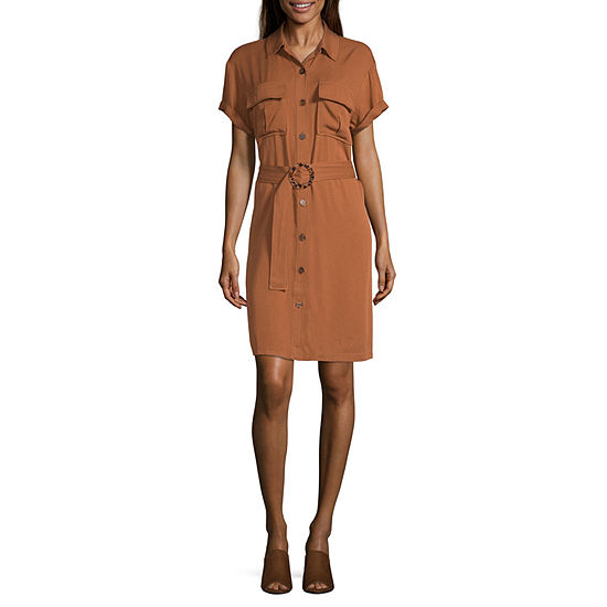 Worthington Short Sleeve Shirt Dress- Tall