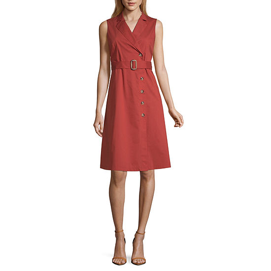 Worthington Sleeveless Shirt Dress-Tall