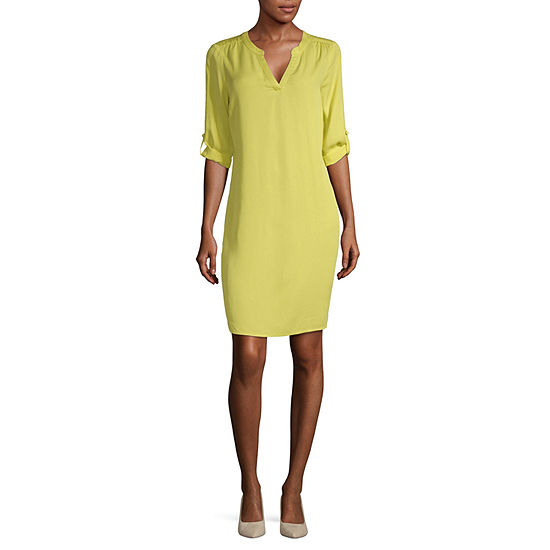 Worthington-Tall 3/4 Sleeve Shift Dress