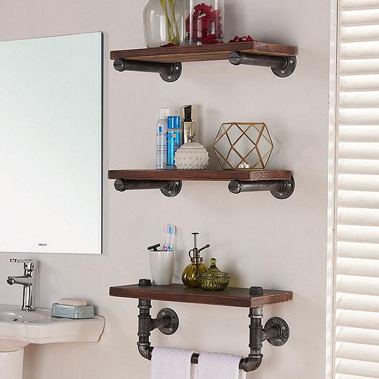 "Armen Living 20"" Conrad Industrial Pine Wood Floating Wall Shelf"