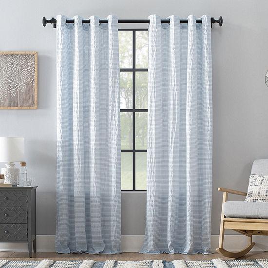 Archaeo Seersucker Stripe Sheer Grommet-Top Curtain Panel