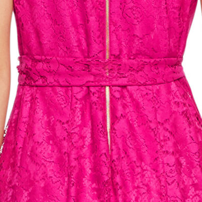 Danny & Nicole Sleeveless Floral Lace Wrap Dress