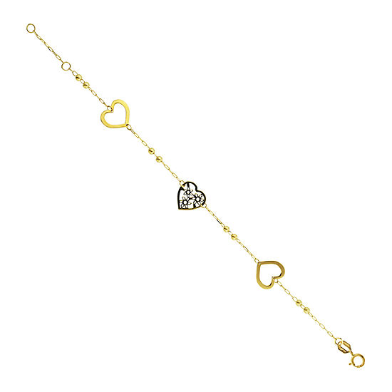 Made in Italy 10K Gold 7.5 Inch Semisolid Cable Heart Link Bracelet