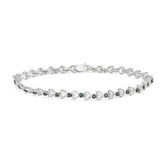 1/6 CT. T.W. Genuine Blue Diamond Sterling Silver Heart 7 Inch Tennis Bracelet