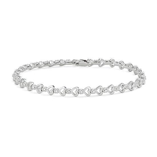 1/6 CT. T.W. Genuine White Diamond Sterling Silver Heart 7 Inch Tennis Bracelet