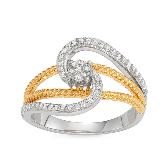 Womens 1/4 CT. T.W. Genuine White Diamond 14K Two Tone Gold Over Silver Knot Promise Ring