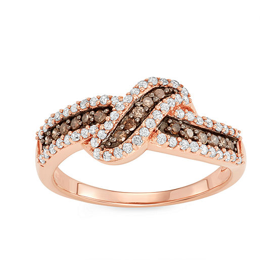 Womens 1/2 CT. T.W. Genuine Multi Color Diamond 14K Rose Gold Over Silver Knot Promise Ring