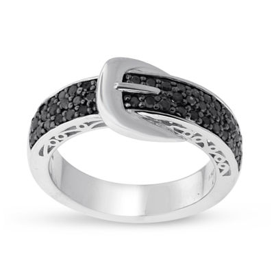 Womens 1/2 CT. T.W. Genuine Black Diamond Sterling Silver Promise Ring