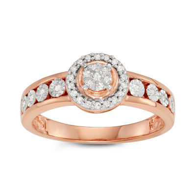 Womens 1/6 CT. T.W. Genuine White Diamond 14K Rose Gold Over Silver Promise Ring