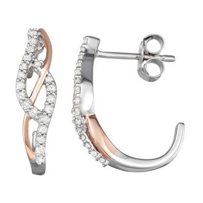 1/3 CT. T.W. Genuine White Diamond 14K Rose Gold Over Silver 18mm Hoop Earrings