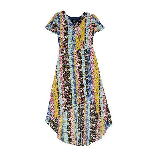 by&by girl Big Girls Short Sleeve Flutter Sleeve Maxi Dress