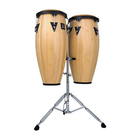 Lp Latin Percussion Aspire 10 And 11 Natural Finish Wood Conga Set With Double Stand