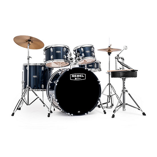 """Mapex Rebel 22"""" Bass Drum 5-Piece Drumset with Hardware and Cymbals - Royal Blue"""