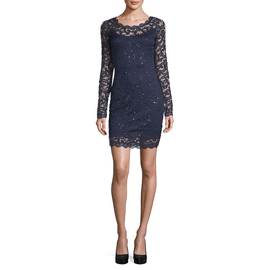 My Michelle Long Sleeve Party Dress Juniors