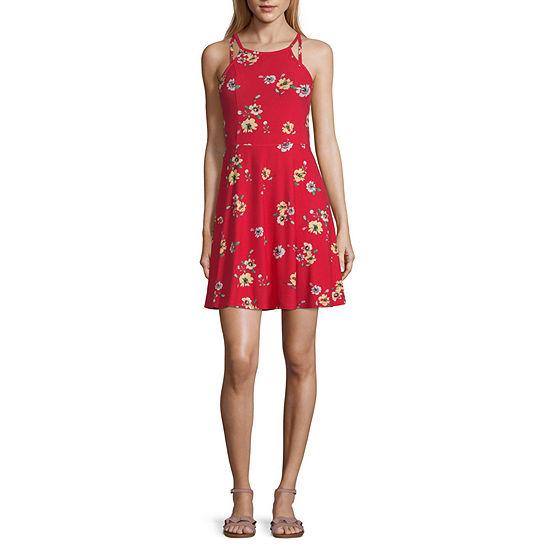 Arizona Sleeveless Floral Fit & Flare Dress-Juniors