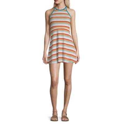 Arizona Short Sleeve Striped Fit & Flare Dress-Juniors