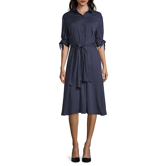 Weslee Rose 3/4 Sleeve Shirt Dress