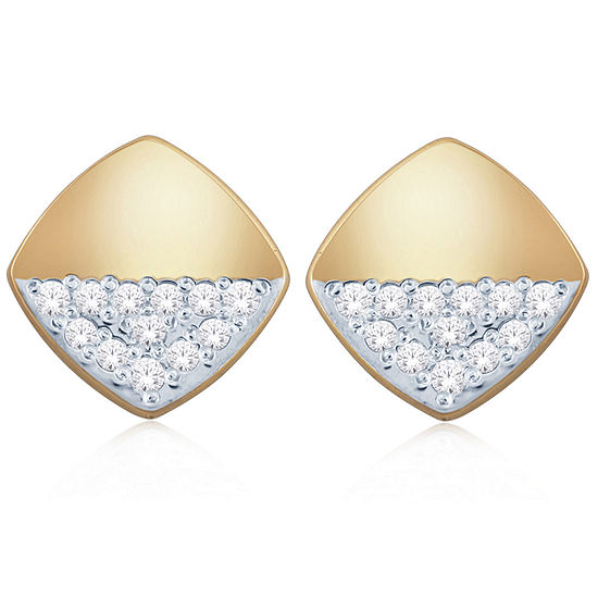 Diamond Accent Genuine White Diamond 10K Gold 7.5mm Square Stud Earrings