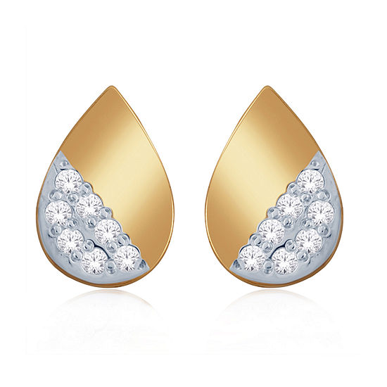 Diamond Accent Genuine White Diamond 10K Gold 7.5mm Pear Stud Earrings