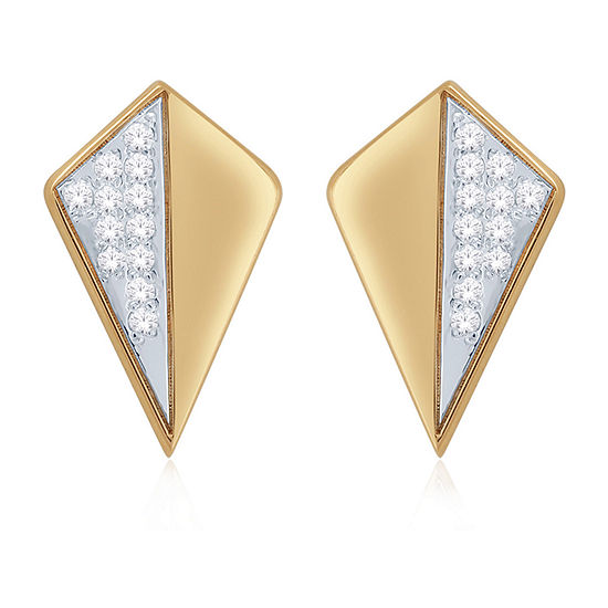 Diamond Accent Genuine White Diamond 10K Gold 12mm Triangle Stud Earrings