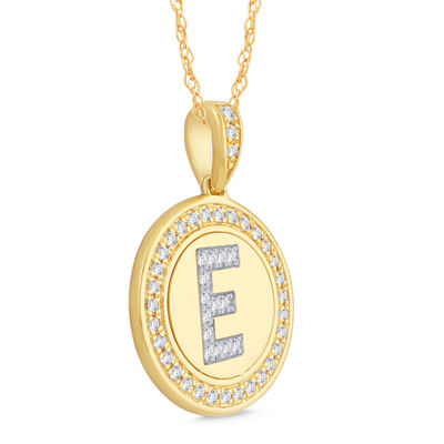 E Initial Womens 1/4 CT. T.W. Genuine White Diamond 10K Gold Pendant Necklace