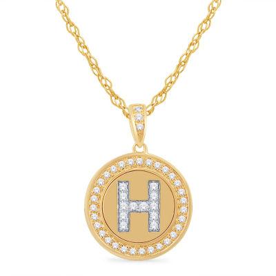 H Initial Womens 1/4 CT. T.W. Genuine White Diamond 10K Gold Pendant Necklace