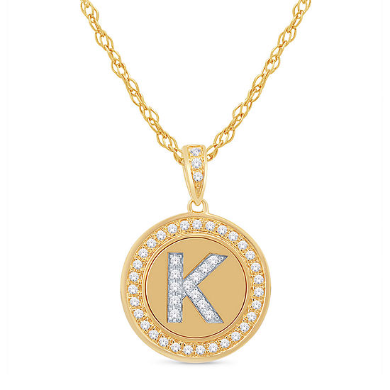 K Initial Womens 1/4 CT. T.W. Genuine White Diamond 10K Gold Pendant Necklace