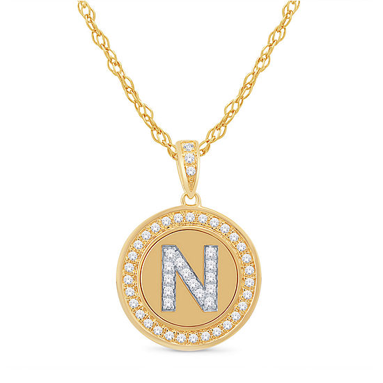 N Initial Womens 1/4 CT. T.W. Genuine White Diamond 10K Gold Pendant Necklace