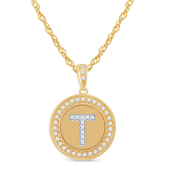 T Initial Womens 1/5 CT. T.W. Genuine White Diamond 10K Gold Pendant Necklace