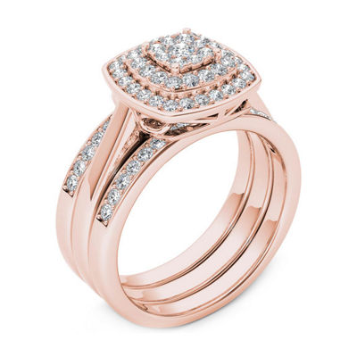 Womens 1/3 CT. T.W. Genuine White Diamond 10K Rose Gold Bridal Set