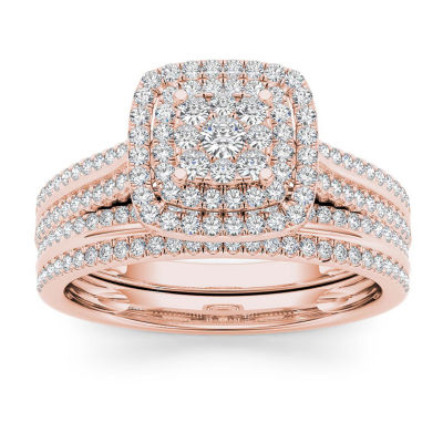 Womens 1/2 CT. T.W. Genuine White Diamond 10K Rose Gold Bridal Set