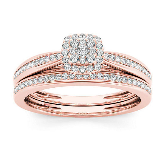 Womens 1/4 CT. T.W. Genuine White Diamond 10K Rose Gold Bridal Set